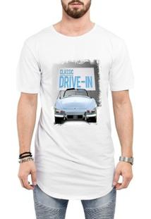Camiseta Criativa Urbana Long Line Oversized Classic Drive-In Carro - Masculino-Branco