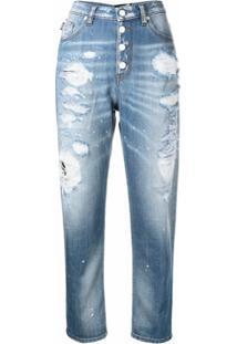 Love Moschino Calça Jeans Reta Com Efeito Destroyed - Azul