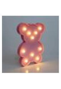 Luminária Led Abajur Infantil Decoracão Ursinho Rosa