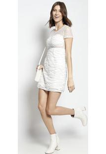 Vestido Em Renda Com Passamanaria- Branco- Le Fixle Fix
