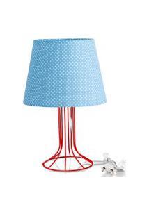 Abajur Torre Dome Azul/Bolinha Com Aramado Vermelho