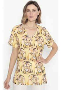 Blusa Com Fendas- Amarela & Preta- Cotton Colors Extcotton Colors Extra