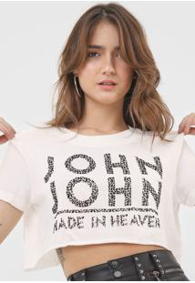 Camiseta Cropped John John Onça Off-White - Kanui