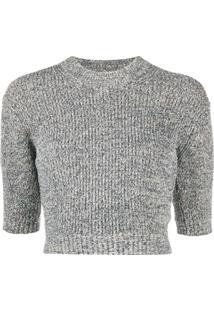 Kenzo Suéter Cropped De Tricô - Cinza