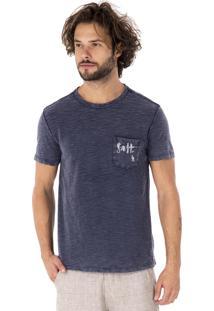 Camiseta Side Walk Camiseta Dupla Face Ondas Azul Marinho