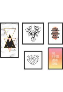 Conjunto Com 5 Quadros Decorativos Animal Love Ll Colorido