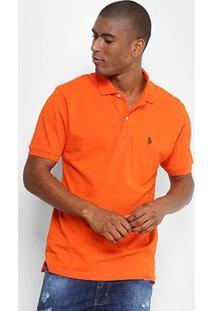 Camisa Polo U.S. Polo Assn Piquet Bordado Masculina - Masculino-Laranja