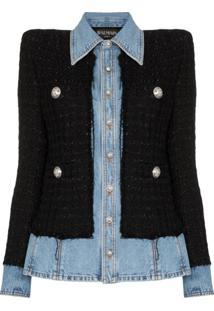 Balmain Jaqueta Jeans Tweed - Preto