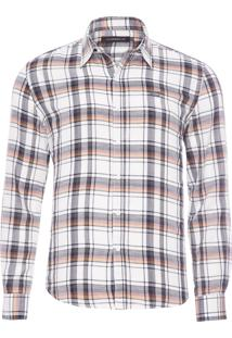 Camisa Masculina Check Classic French - Branco
