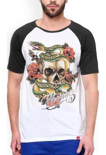 Camiseta Raglan Skull Old School - Masculino