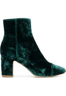 Polly Plume Ankle Boot De Veludo 'Ally' - Green