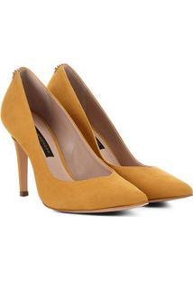 Scarpin Couro Jorge Bischoff Nobuck Feminino - Feminino-Amarelo