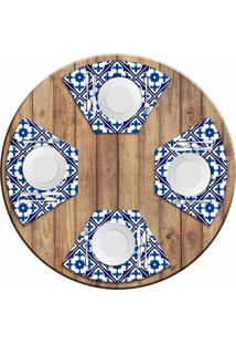 Jogo Americano Love Decor Para Mesa Redonda Wevans Tile Blue Kit Com 4 Pçs