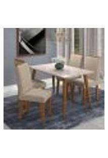 Conjunto De Mesa De Jantar Adele Com Vidro E 4 Cadeiras Milena Suede Off White E Bege