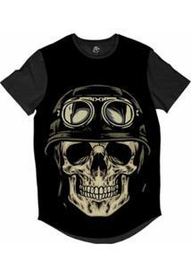 Camiseta Longline Bsc Caveira Capacete Motoqueiro 64 Sublimada Masculina - Masculino-Preto