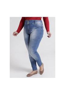 Calça Jeans Estonada Plus Size Feminina Azul