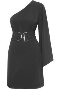 Vestido Curto Um Ombro Só - Preto