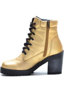 Bota De Cano Curto Com Zíper Na Lateral Em Couro Atron Shoes Na Cor Dourada 9404