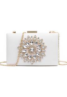 Bolsa Clutch Liage Festa Bordada Pedra Brilhante Cristal Strass Pedraria Metal Dourada E Branca Off-White