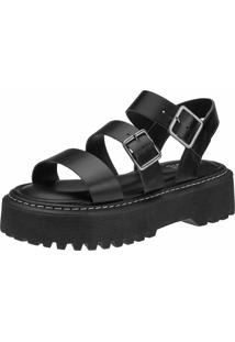 Sandalia Plataforma Chunky Gigil Flatform Fivela Preta