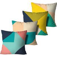 fe48728e6 Kit 4 Capas Para Almofadas Decorativas Love Decor Geométrico Multicolorico  Verde
