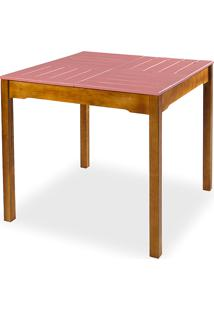 Mesa Para Cozinha De Madeira Maciça Taeda Com Tampo Colorido Olga Verniz Nózes E Rosa Coral 80X80X75Cm