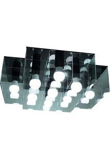 Plafon Versus Cruzado 15W-Taschibra - Transparente / Preto