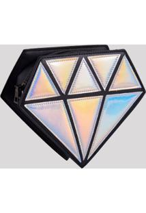 Bolsa Feminina Transversal C/ Alça De Corrente Em Formato De Diamante