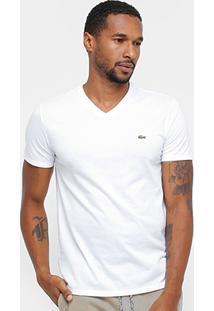 Camiseta Lacoste Gola V Regular Fit Masculina - Masculino