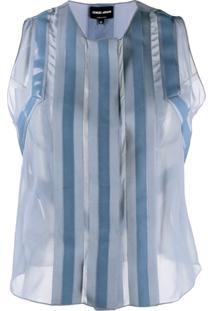 Giorgio Armani Blusa Com Recortes Translúcidos - Azul