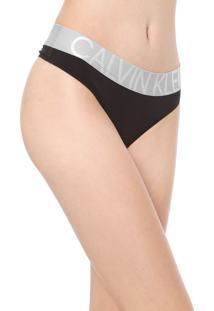 Calcinha Calvin Klein Underwear Fio Dental Statement Preta