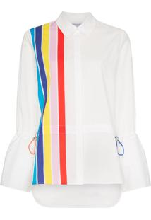 Mira Mikati Stripe Front Shirt With Drawstring Pulls - Branco