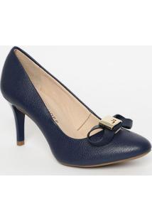 Sapato Tradicional Em Couro Com Laã§O- Azul- Salto: 8Jorge Bischoff