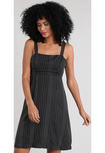 Vestido Feminino Curto Listrado Preto