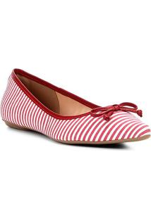 Sapatilha Shoestock Bico Fino Laço Feminina - Feminino-Vermelho