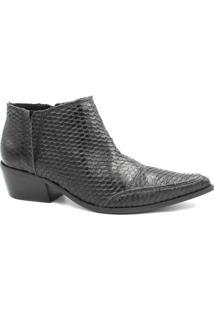 Bota Zariff Shoes Ankle Boot Couro Feminina - Feminino-Preto