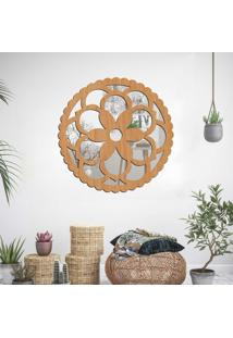 Escultura De Parede Wevans Mandala Flower, Madeira + Espelho Decorativo