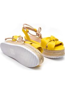 Sandã¡Lia Flatform Corda Anabela Tratorada Amarela - Amarelo - Feminino - Nobuck - Dafiti