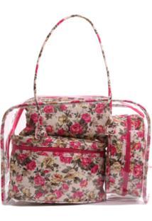 Kit Com 3 Necessaire Real Arte Floral Rosa - Rosa - Feminino - Algodã£O - Dafiti