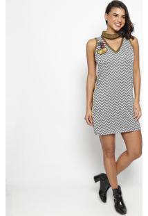 Vestido Texturizado Com Recortes & Bordado- Preto & Amarwool Line