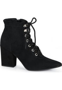 Ankle Boots Feminina Offline Suede Preto
