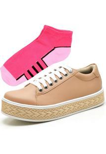 Tênis Ousy Shoes Flatform Palha Nude