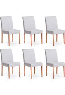 Conjunto Com 6 Cadeiras De Jantar Nube Cinza E Castanho