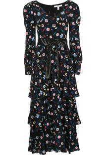 Olivia Rubin Vestido Longo Com Estampa Floral - Preto