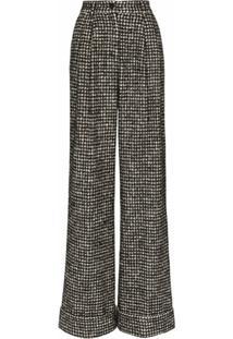 Dolce & Gabbana Calça Pantalona Com Padronagem Pied-De-Poule - Preto