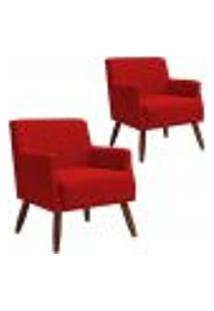 Kit 02 Poltronas Decorativas Para Sala De Estar E Recepção Diva D02 Tressê Suede Vermelho B-173 - Lyam Decor