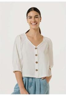 Blusa Feminina Com Botões Rajados Off-White