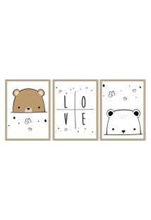 Quadro 30X60Cm Infantil Amor De Urso Moldura Natural Sem Vidro Decorativo