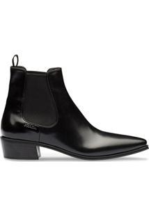 Prada Ankle Boot Com Elástico - Preto