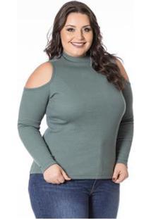 ... Blusa Beline Plus Size Ombros Vazados Miss Masy - Feminino-Verde d276502a022ac